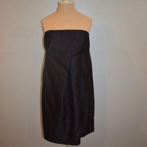Black strapless A-line mini dress with pleats